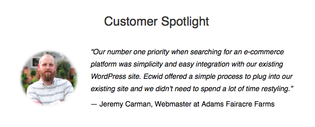 I'm a Featured Customer for the Ecwid Shopping Cart