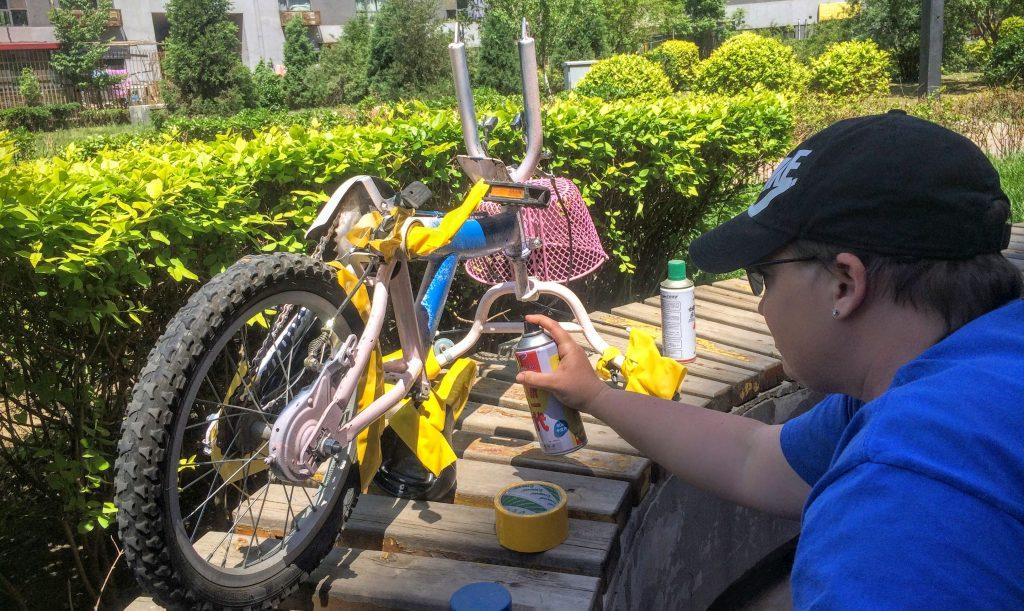 Painting Micah's Bike